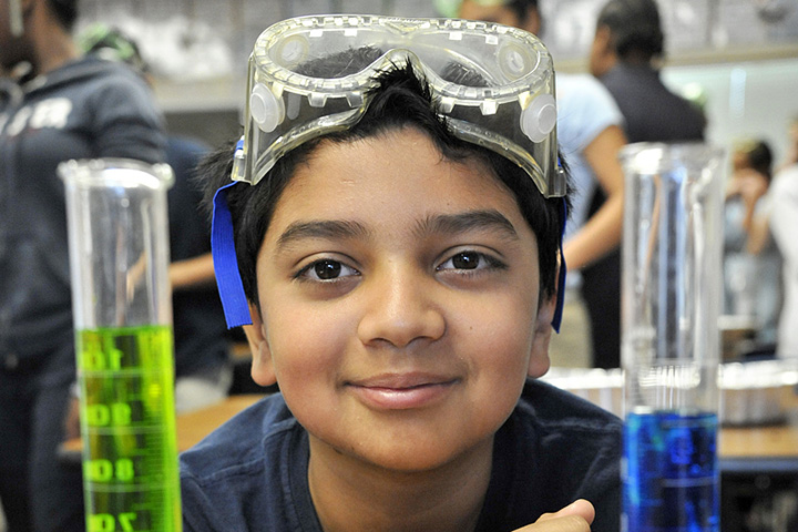 Middle school student working in lab